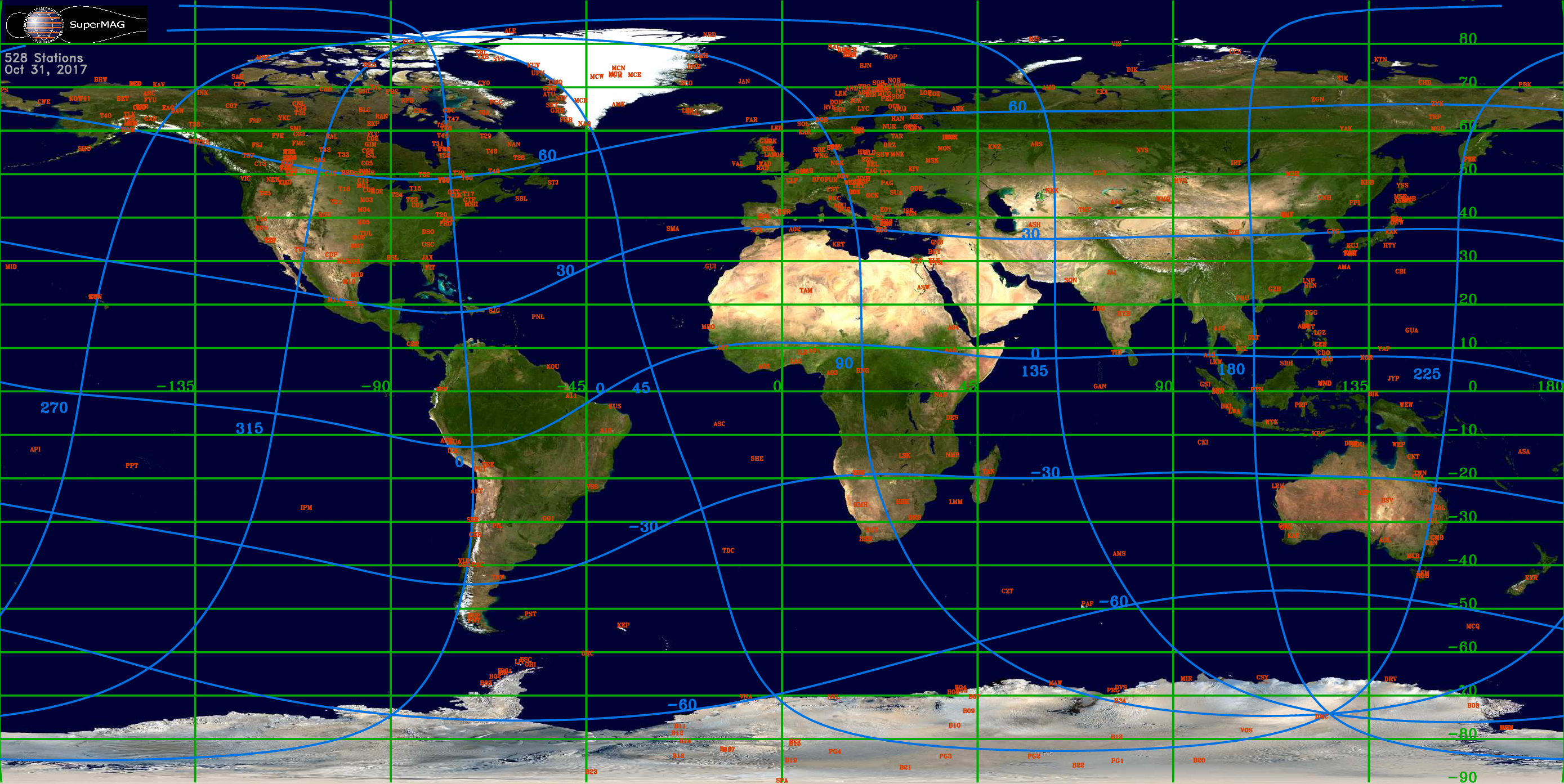 Supermag maps and logos geographic map isotropic projection blue lines are geomagnetic coordinates while green lines are geographic coordinates stations are shown in red by gumiabroncs Image collections